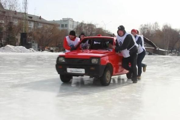 Russians take curling by using cars.jpg